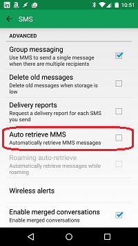 Disable auto retrieve MMS